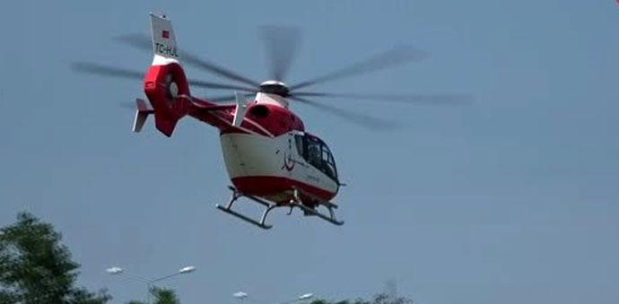 Felç Geçiren Garsonun Yardımına Ambulans Helikopter Yetişti