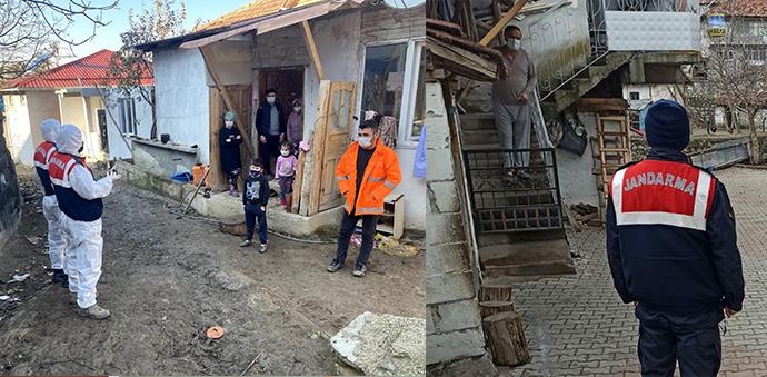 Havza'da Jandarmadan Kapı Kapı Kovid-19 Uyarısı