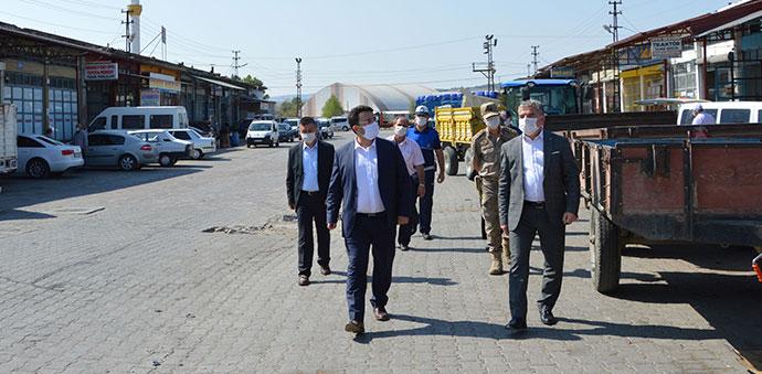 Havza'da Küçük Sanayi Sitesinde Maske Denetimi Yapıldı