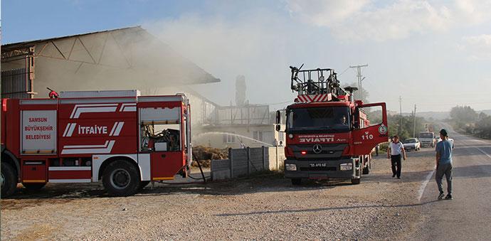 Havza'da Samanlık Deposunda Yangın