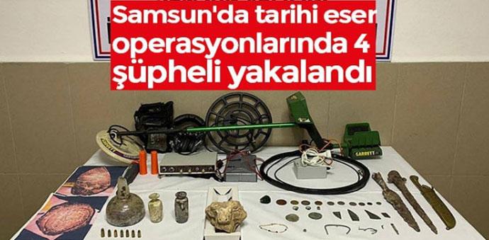 Samsun'da düzenlenen iki tarihi eser operasyonunda 4 şüpheli gözaltına alındı