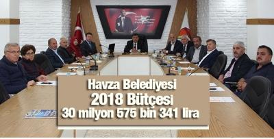 Havza Belediyesi 2018 Bütçesi 30 milyon 575 bin 341 lira