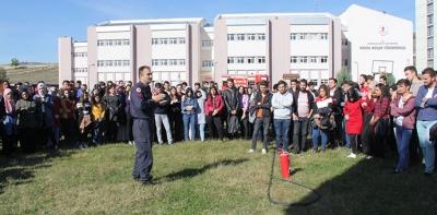 Havza Meslek Yüksekokulunda Yangın Tatbikatı