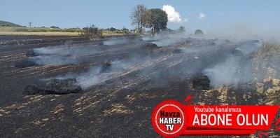Havza'da Ekili Tarlada Yangın-Video Haber
