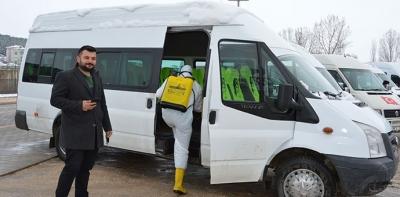 Havza'da Okul Servisleri Dezenfekte Edildi